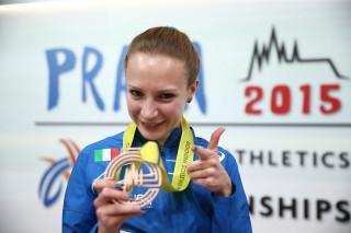 Federica Del Buono con la medaglia di bronzo a Praga