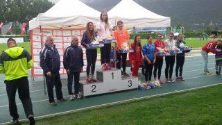 Il podio allieve dell'eptathlon con Gollin e Brandstetter