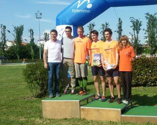 Il podio dei 200 con Galvan, Beria e Brogliato